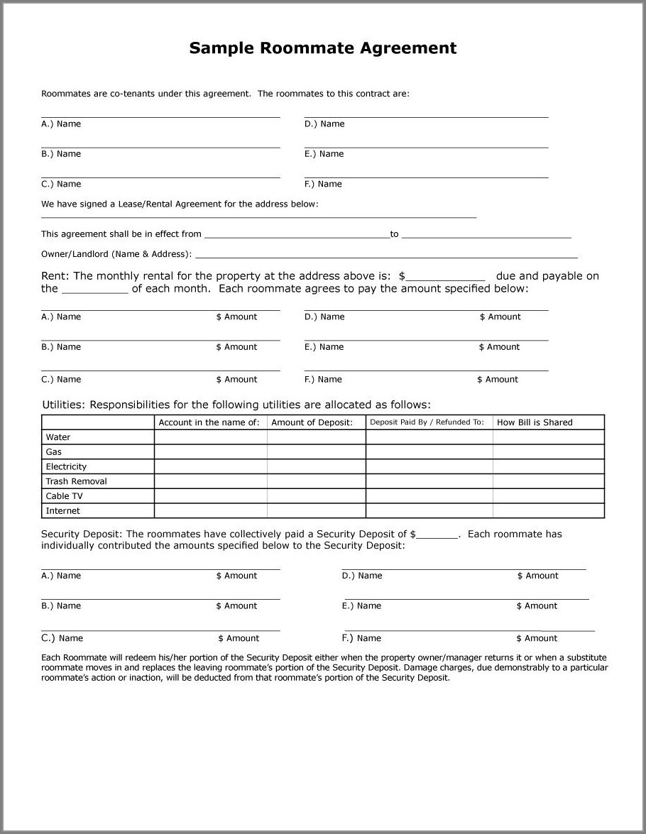 Roommate Lease Template