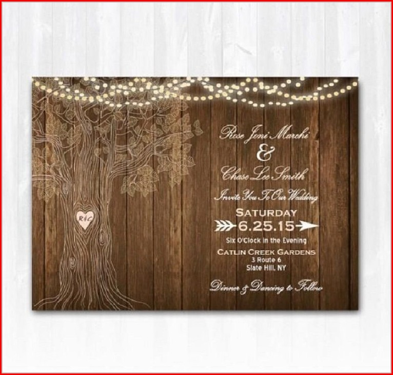 Rustic Wedding Invitation Templates Blank
