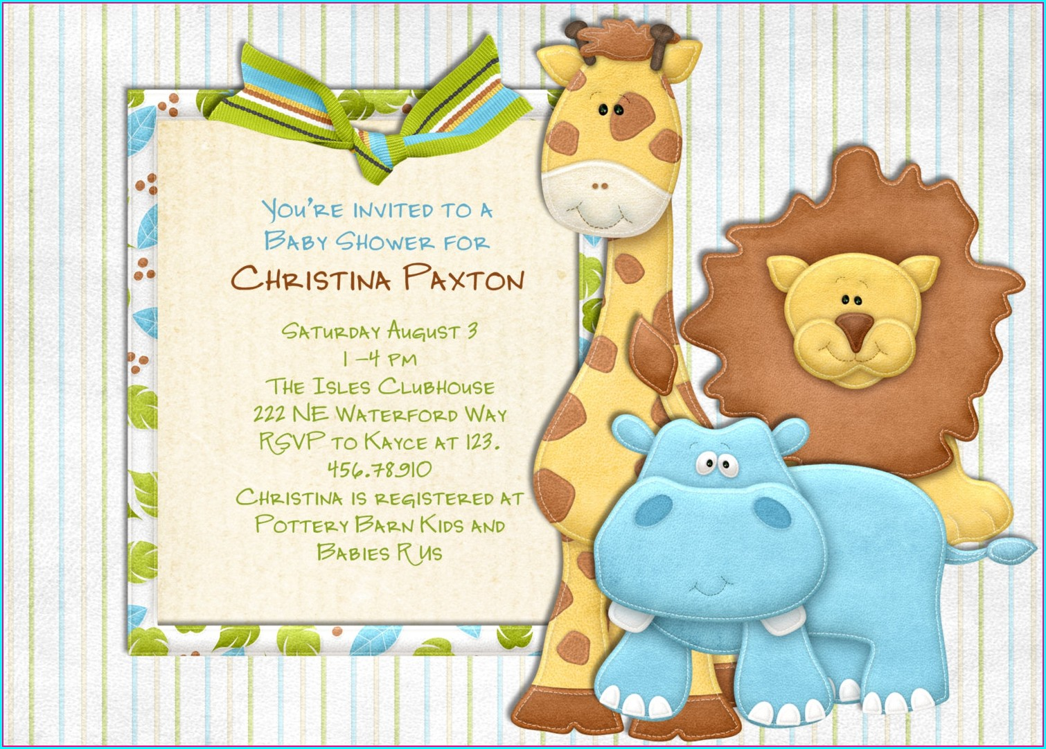 Safari Baby Shower Invitations Template