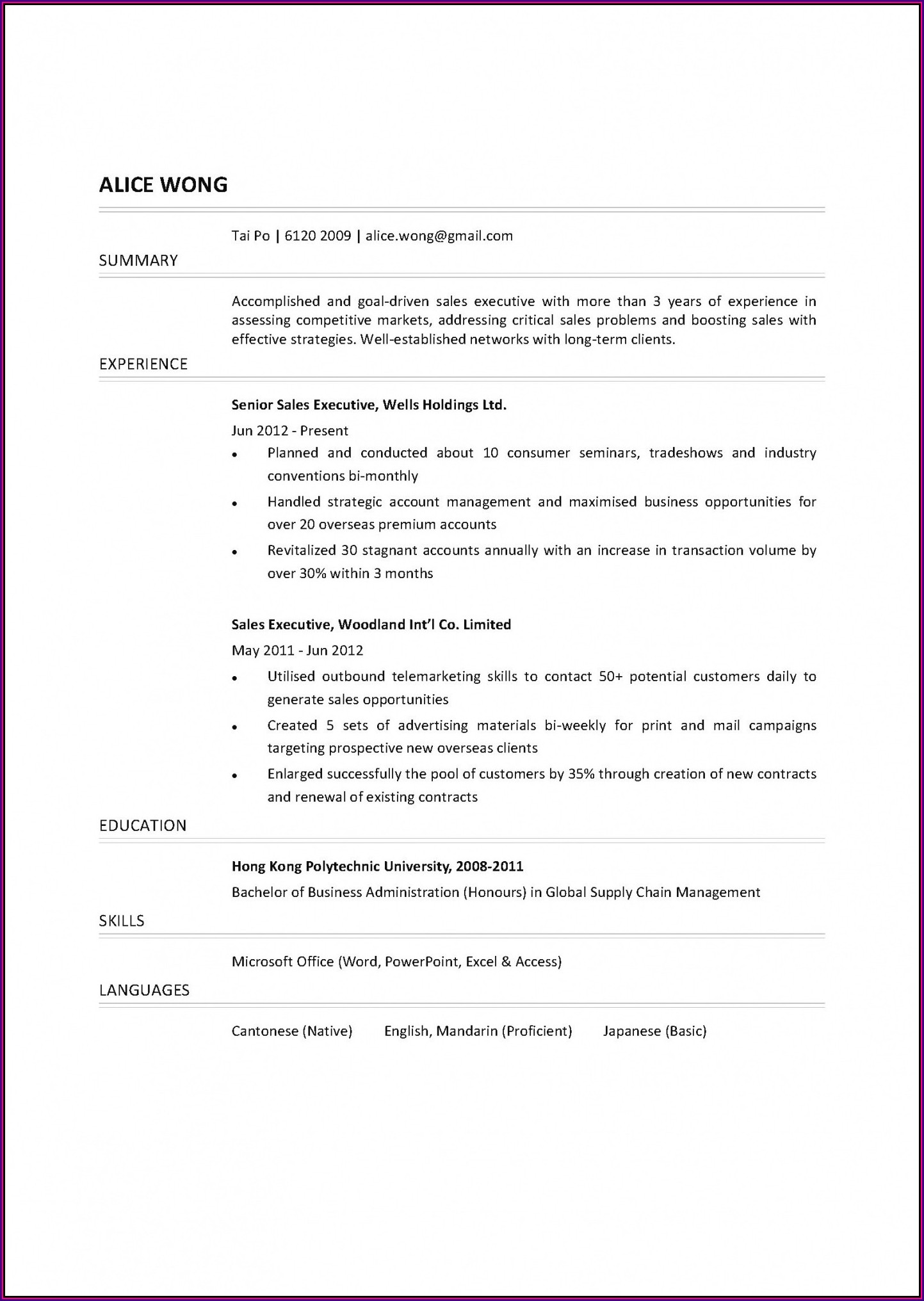 Sales Manager Resume Templates Word