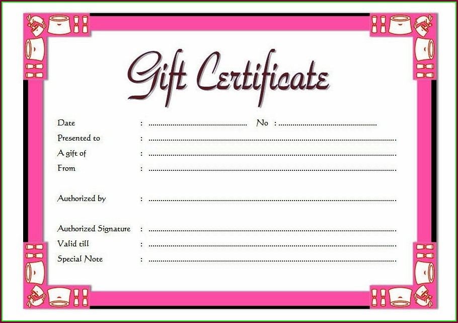Salon Gift Certificate Template Free
