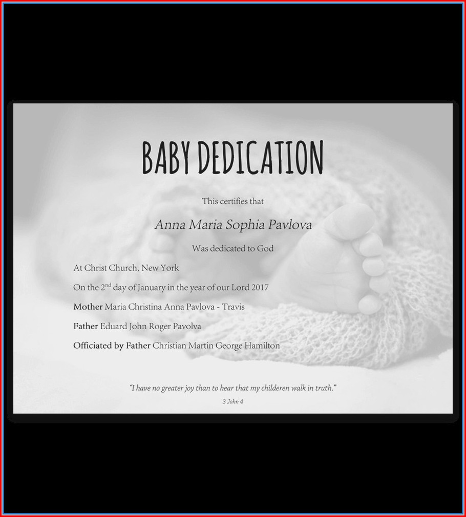 Sample Dedication Invitation Template