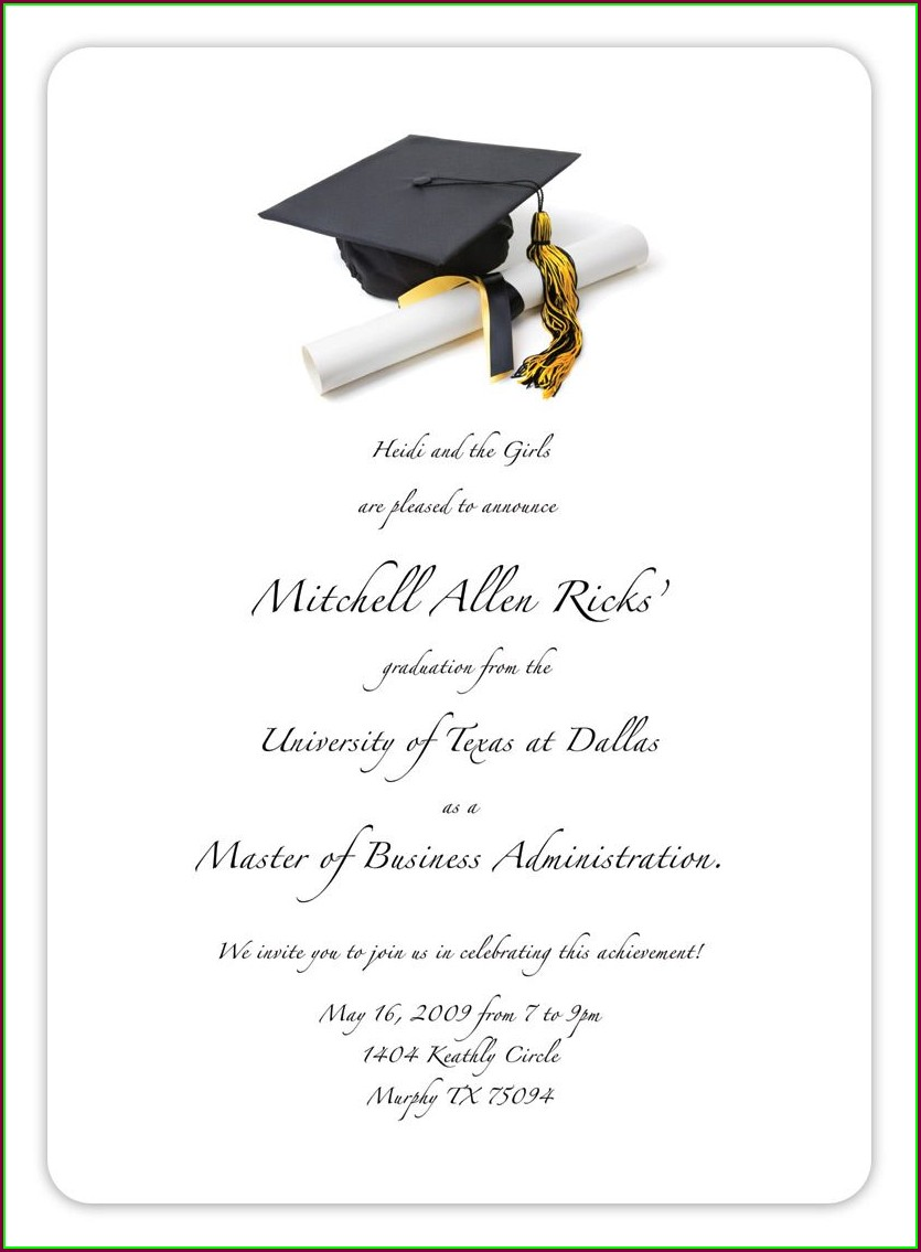 Sample Graduation Invitation Templates