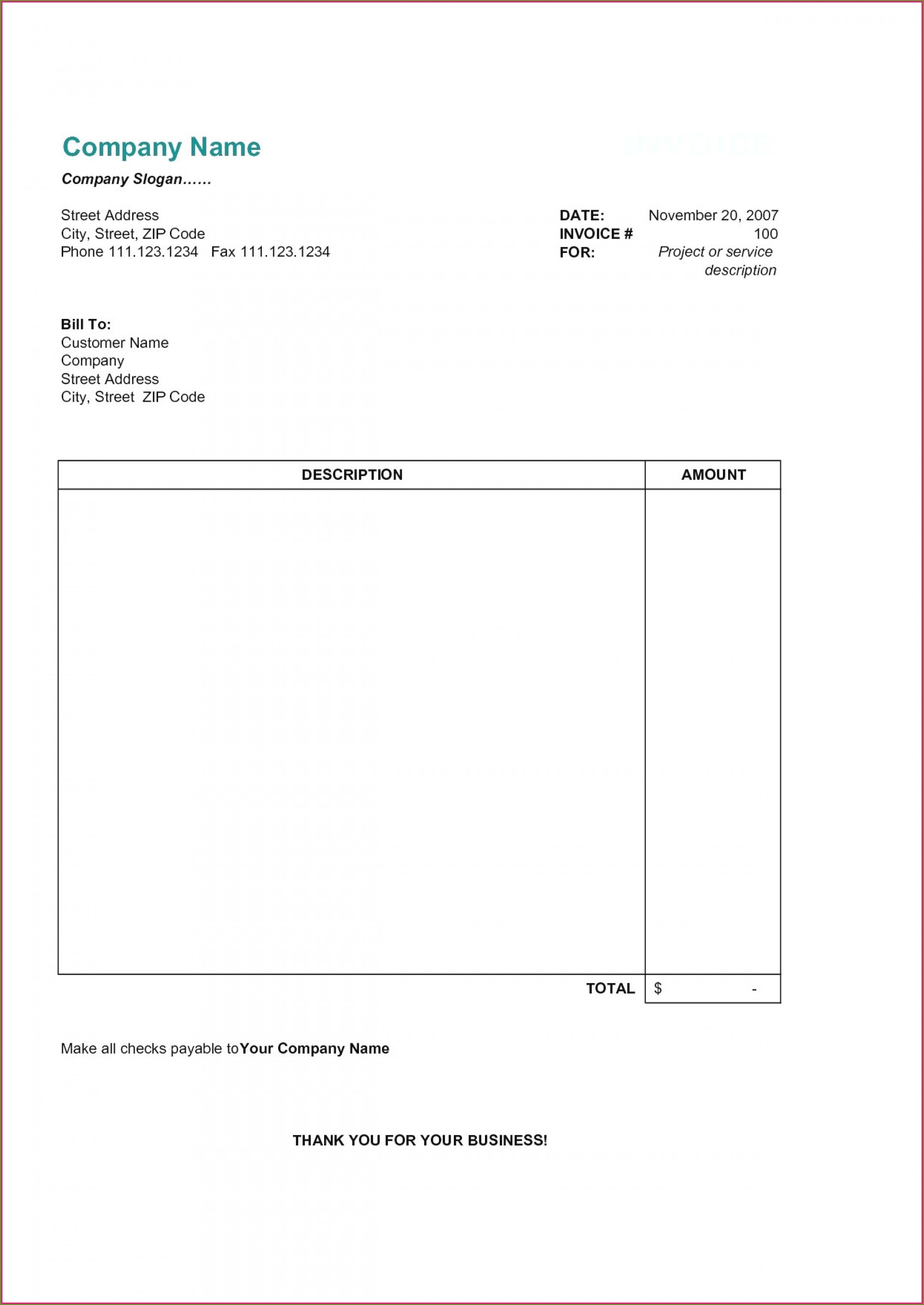 Sample Invoices Templates
