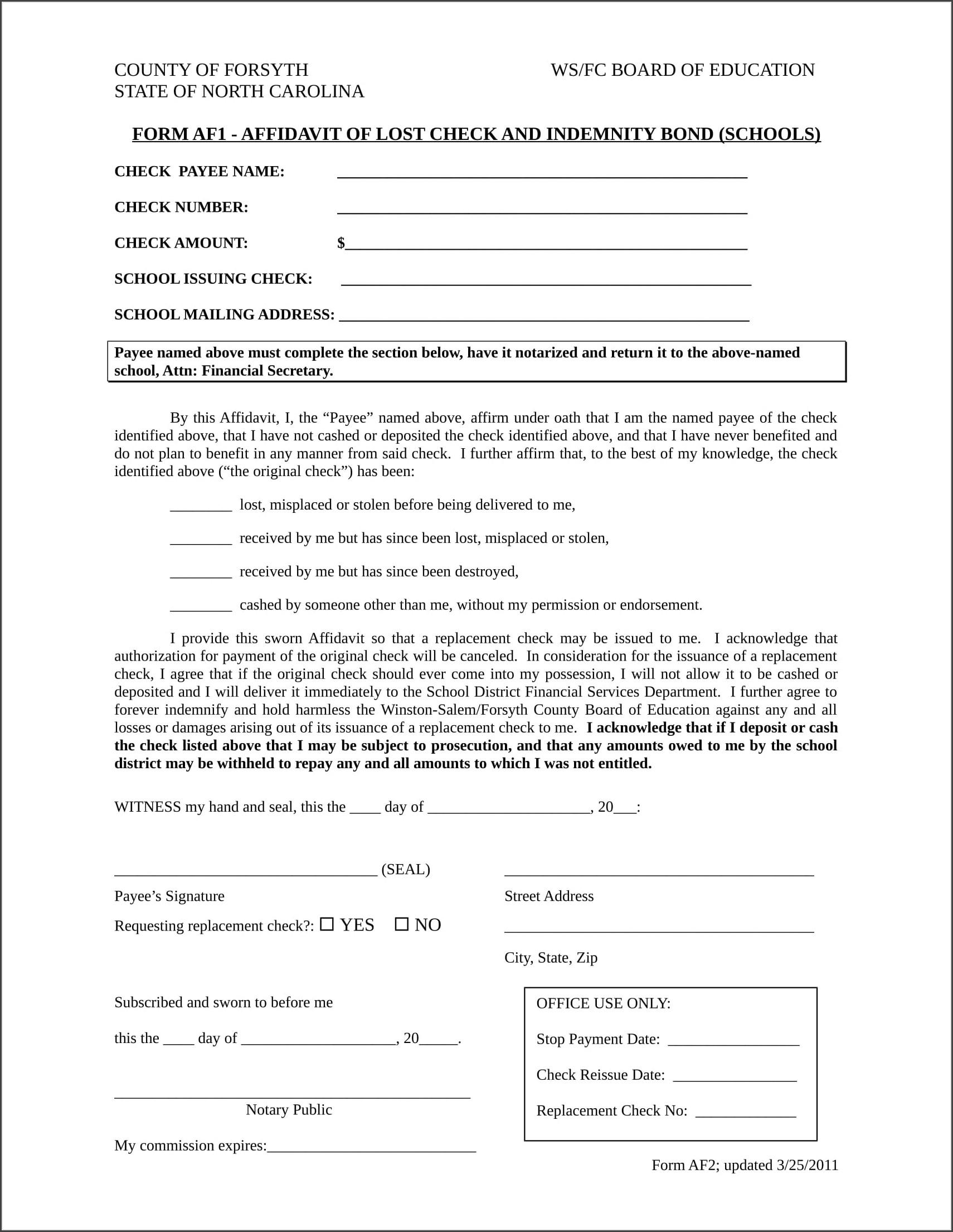 Sample Template Of Affidavit Of Loss
