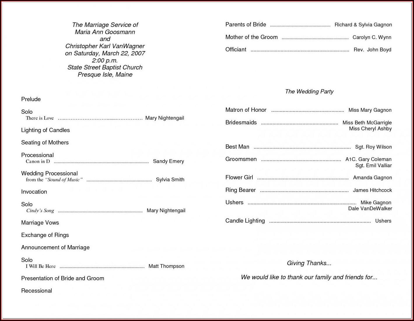 Sample Wedding Program Templates