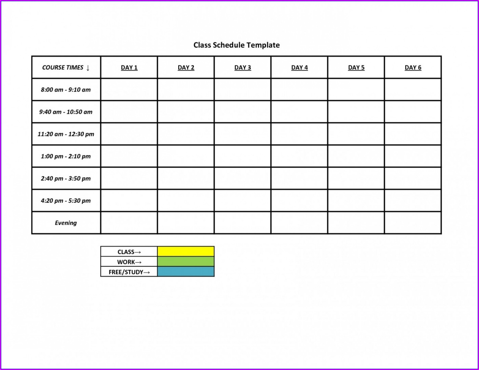 Schedule Maker Excel Template