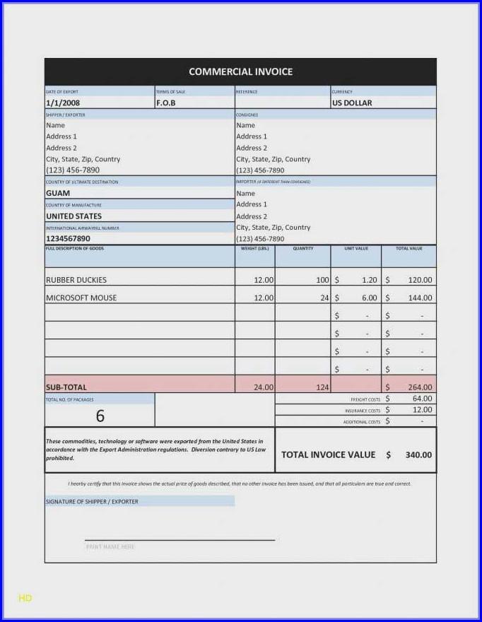 School Invoice Template Excel