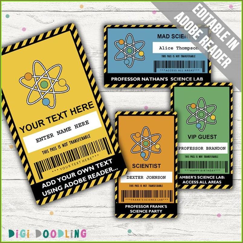 Scientist Id Badge Template Printable