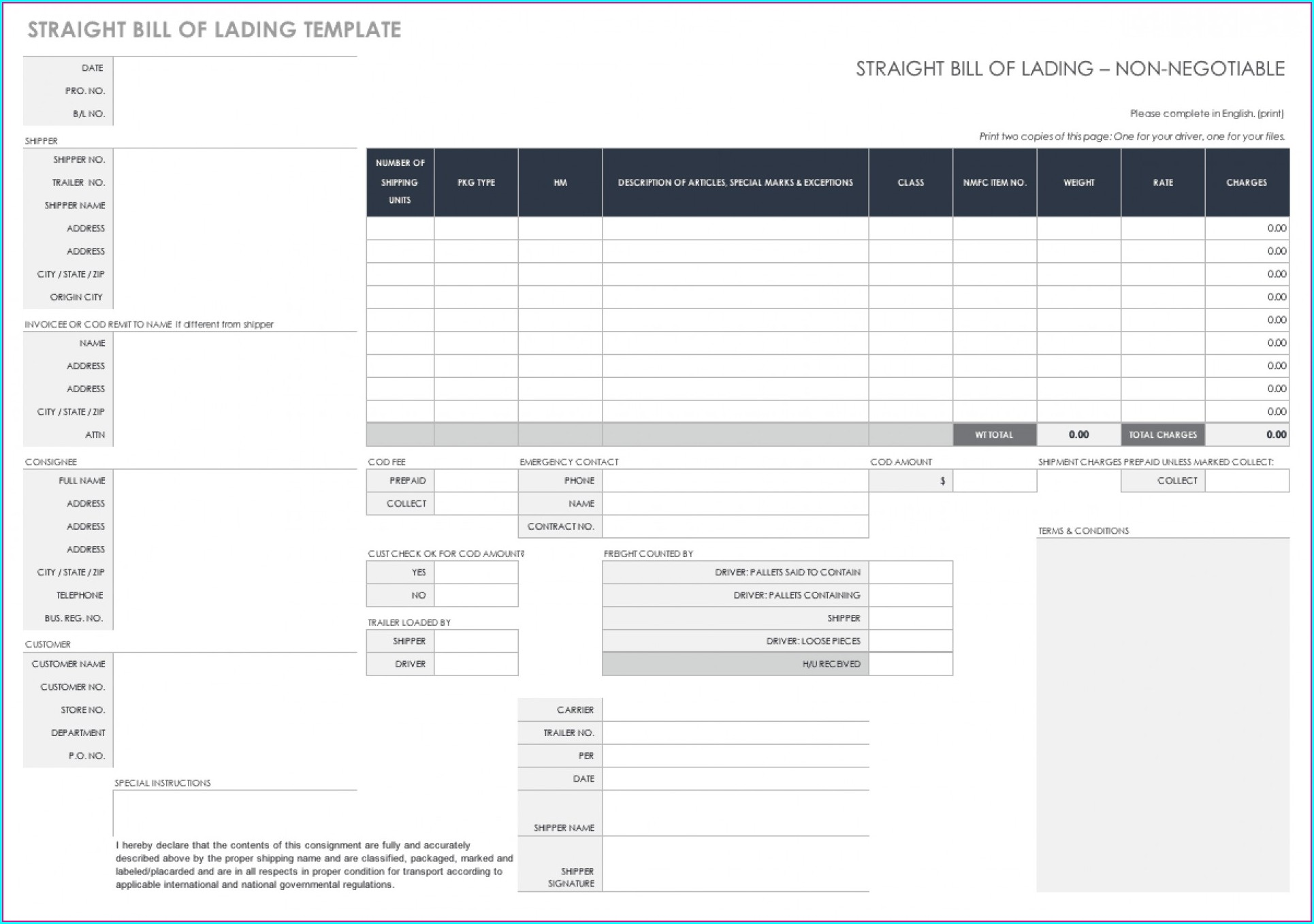 Simple Bill Of Lading Template Excel