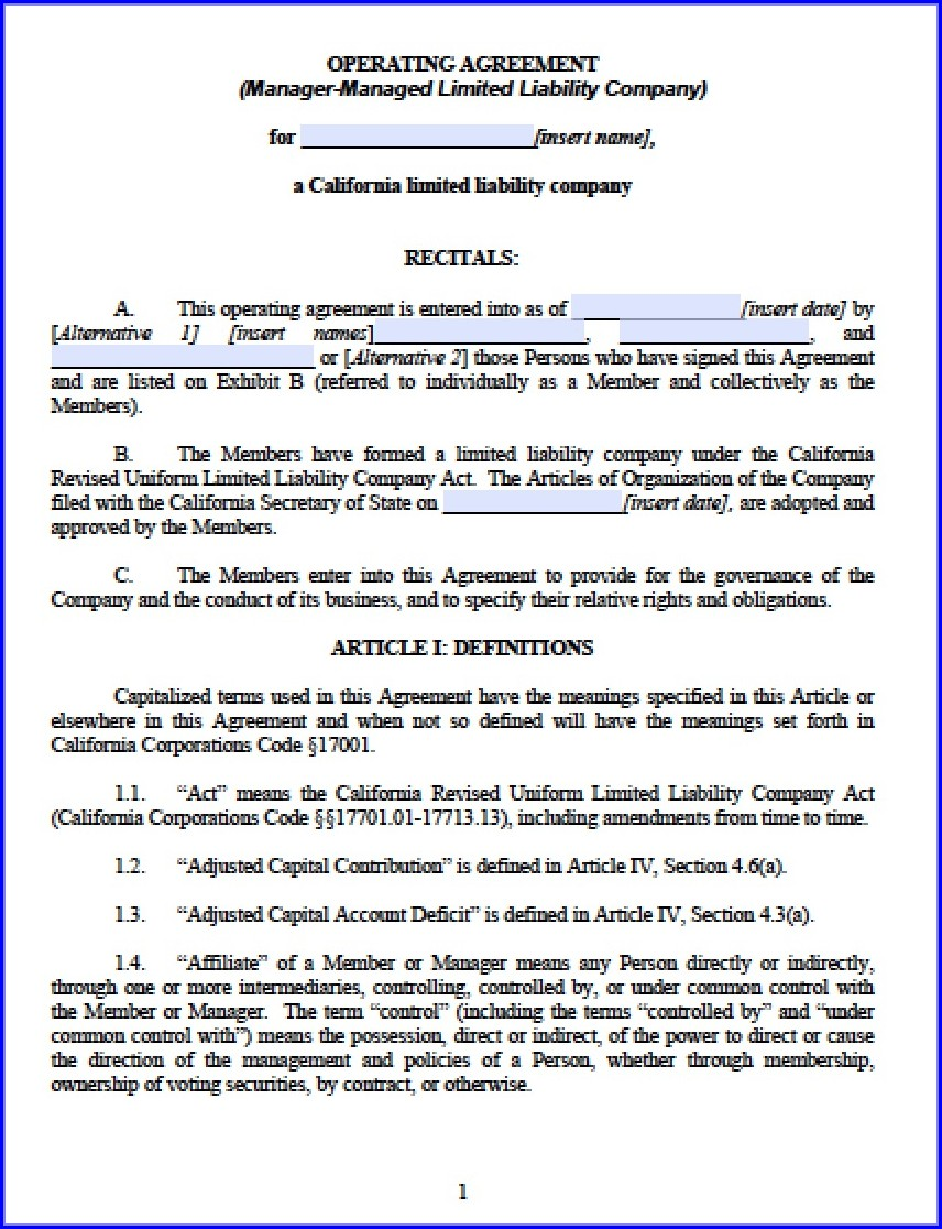 Simple Llc Operating Agreement Template