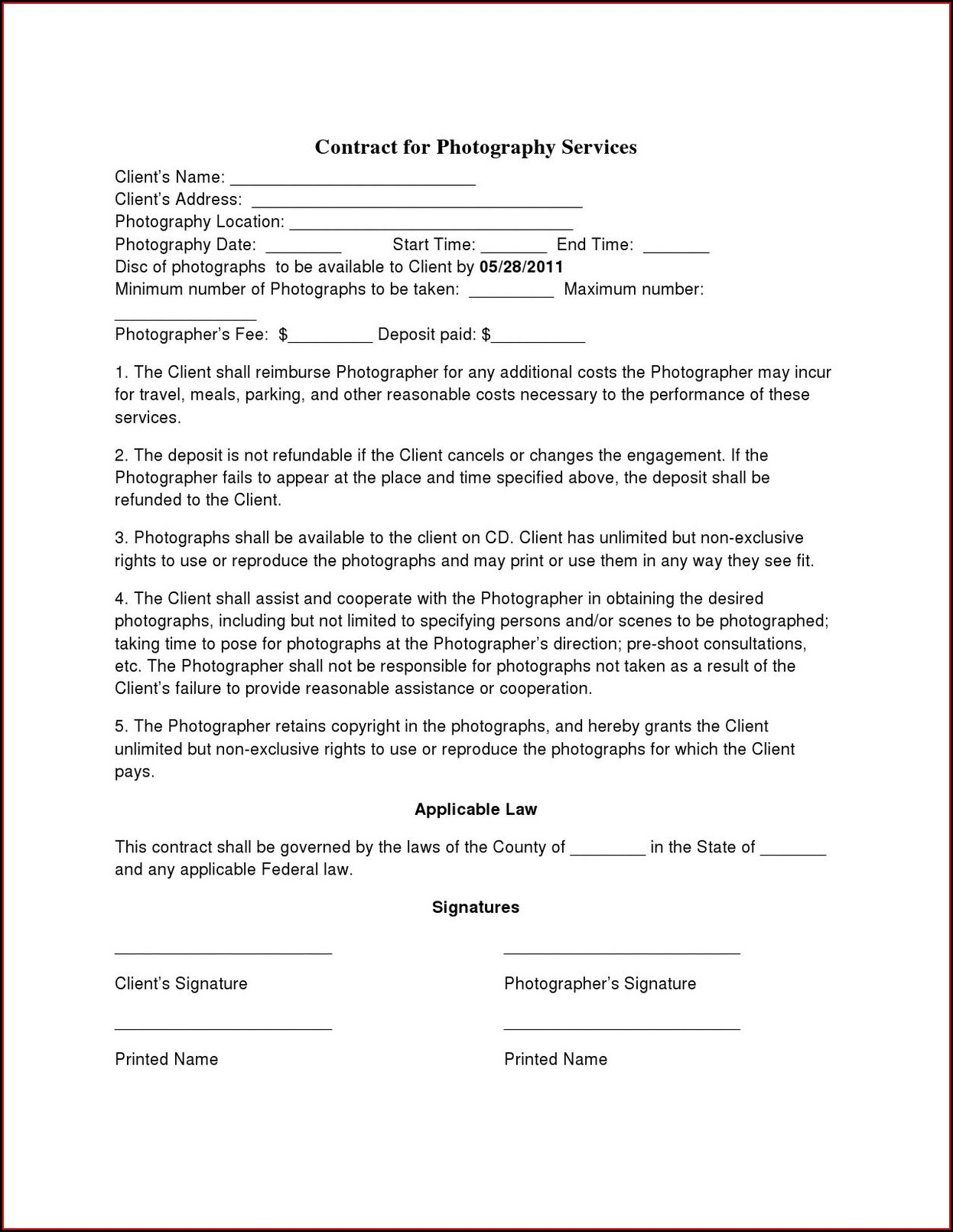Simple Photography Contract Template