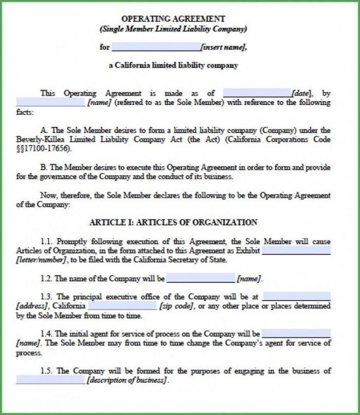 Single Member Llc Operating Agreement Template California