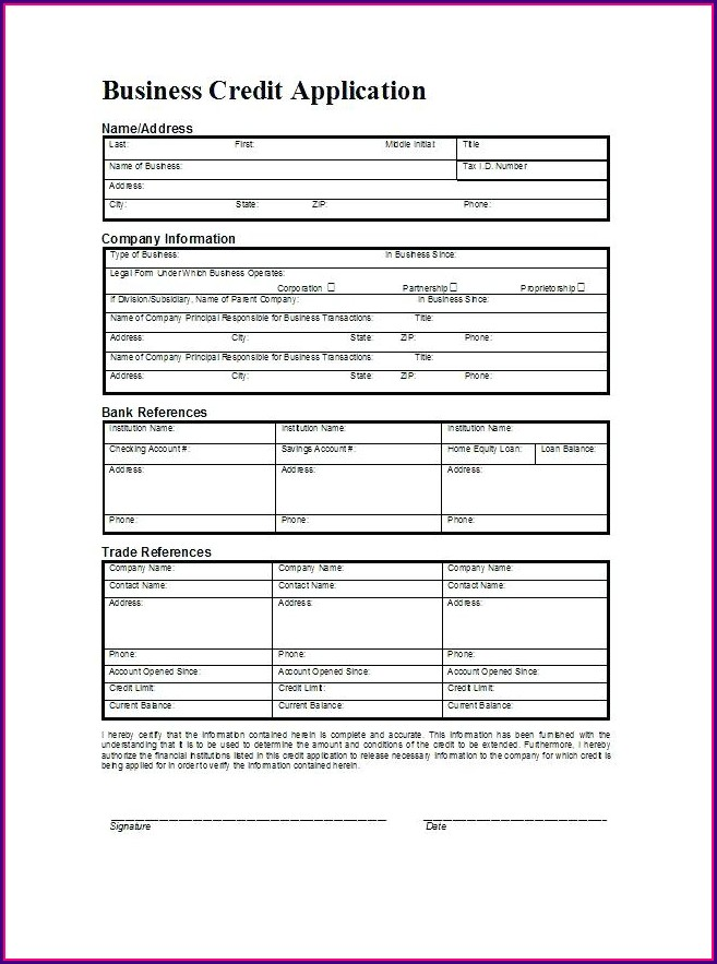 Small Business Credit Application Form Template
