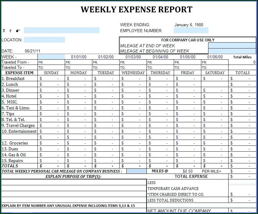 Small Business Monthly Expense Report Template Excel