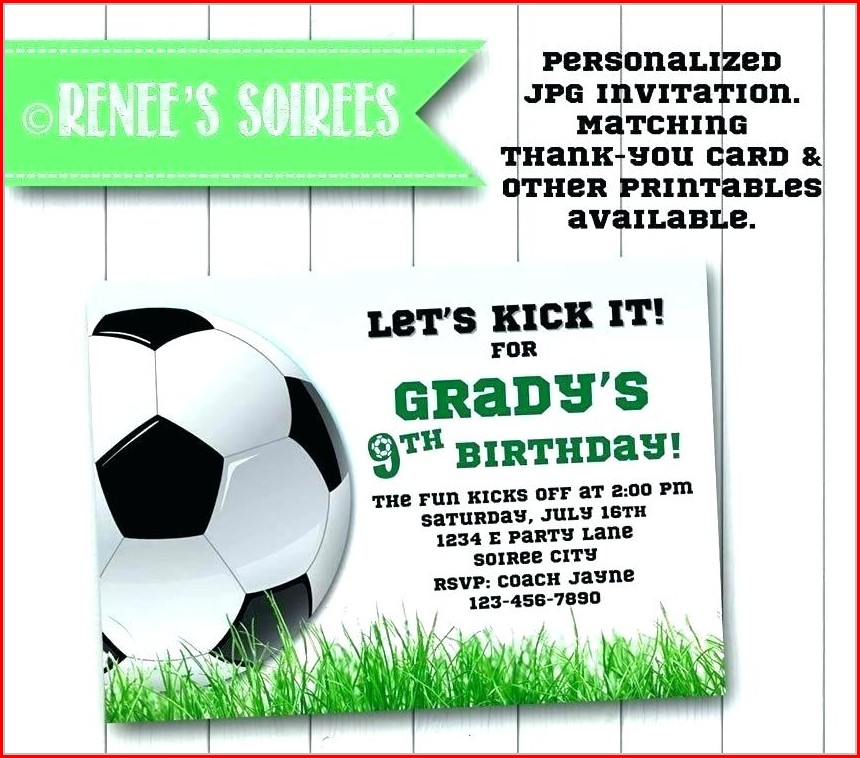 Soccer Birthday Party Invitation Templates Free
