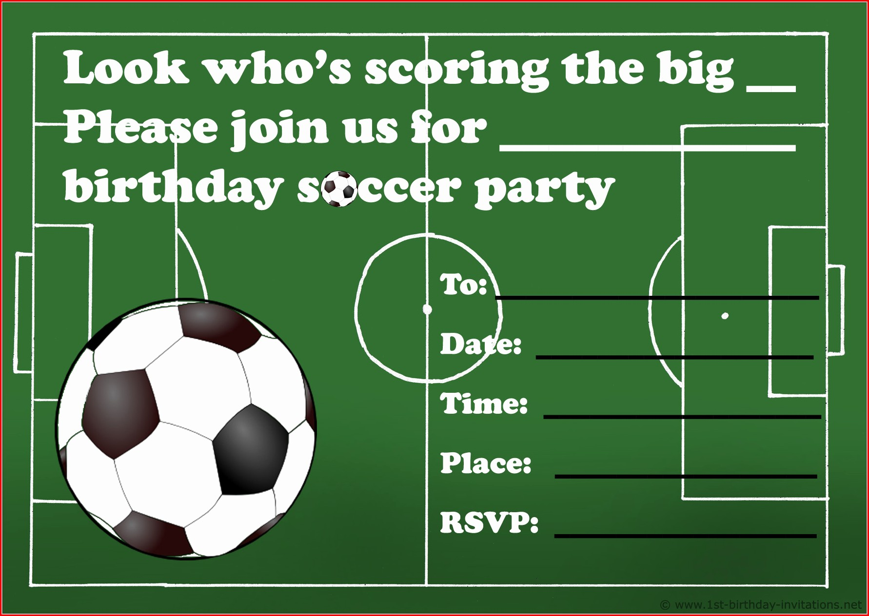 Soccer Theme Invitation Template