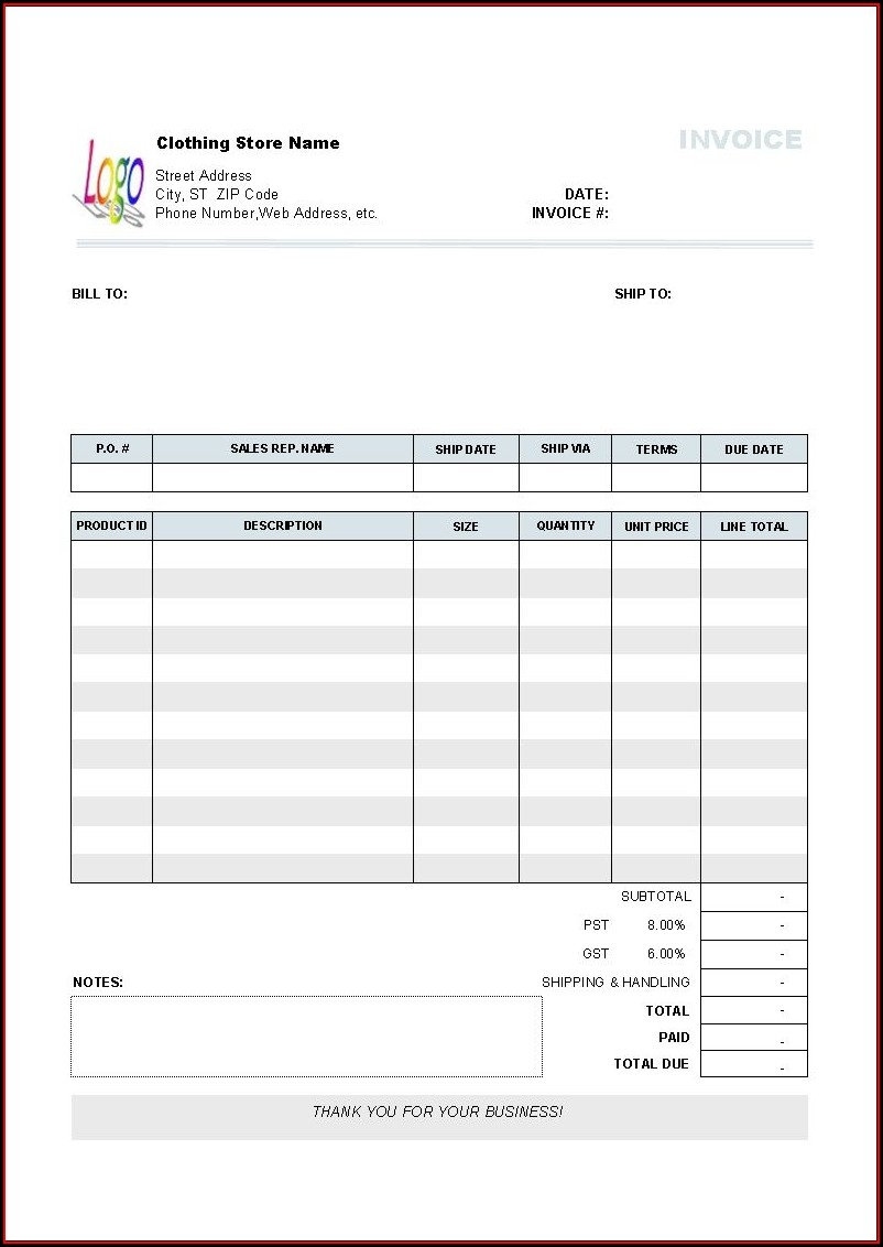 Software Invoice Template