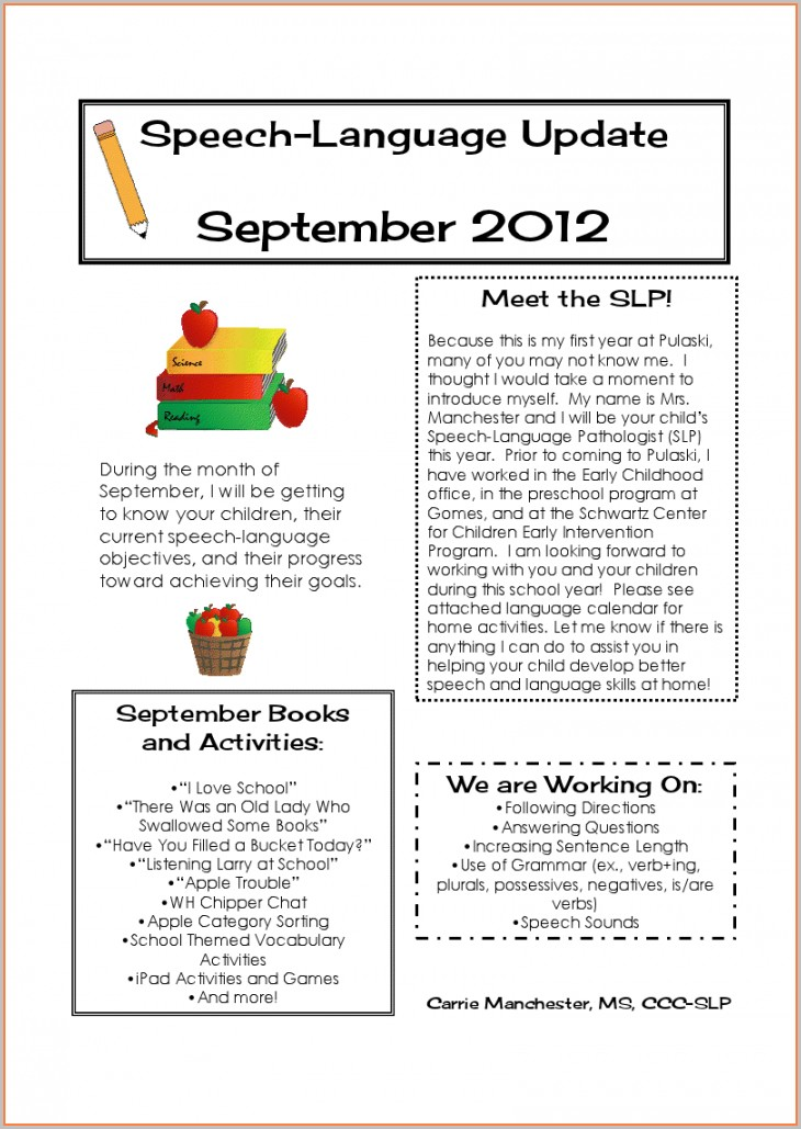 Speech Therapy Newsletter Template