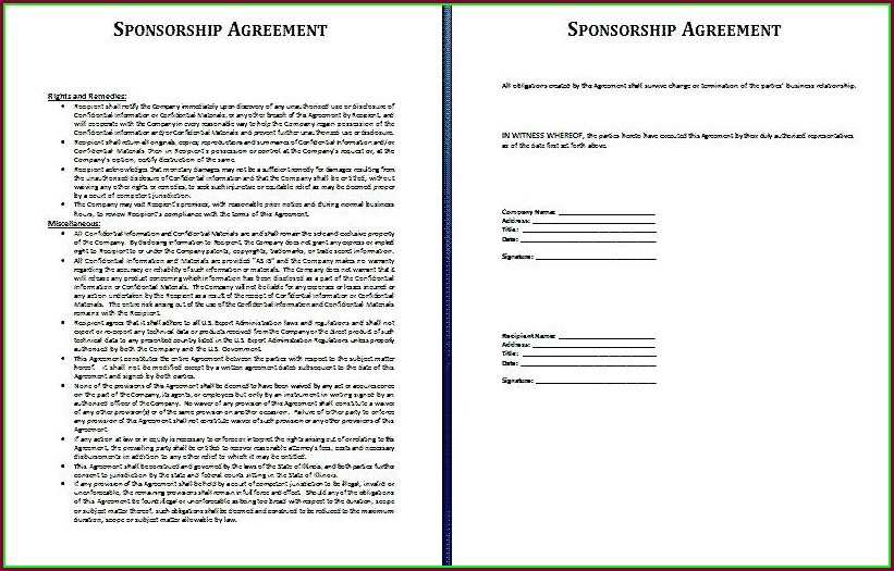 Sponsorship Contract Template Uk