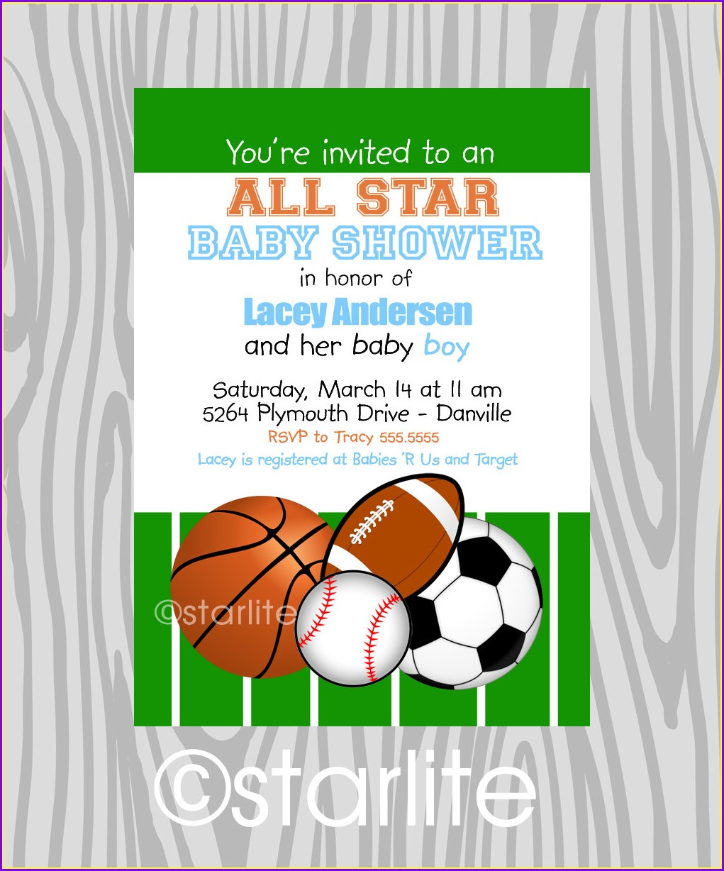 Sports Themed Baby Shower Invitation Templates