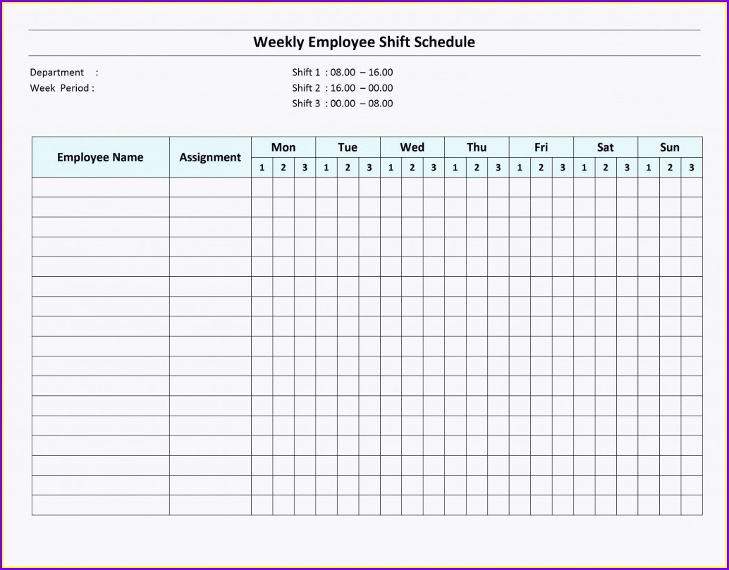 Spreadsheet Weekly Employee Shift Schedule Template Excel