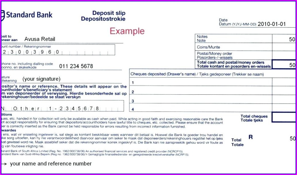 Standard Bank Deposit Slip Template