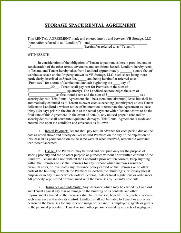 Storage Space Rental Storage Agreement Template