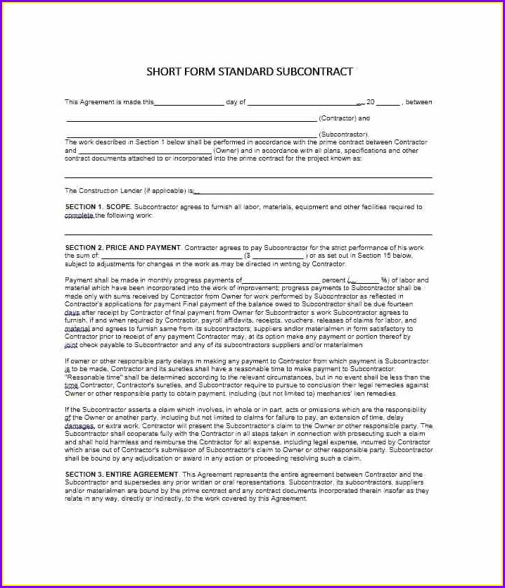 Subcontract Agreement Subcontractors Agreement Template