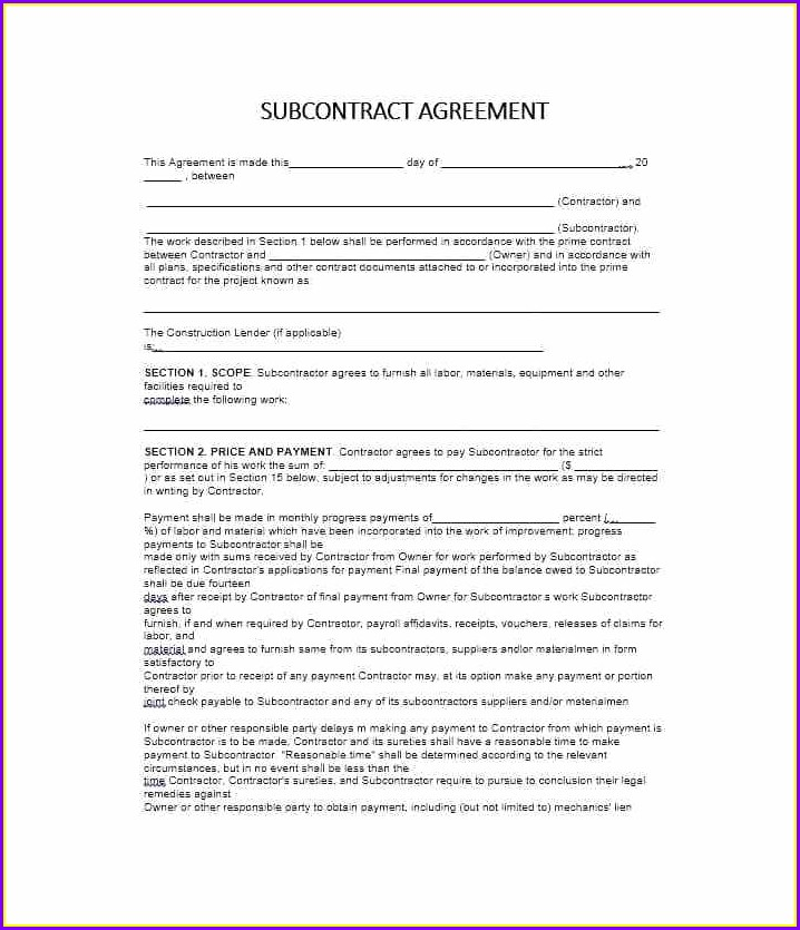 Subcontractors Agreement Template