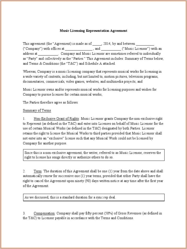 Sync License Agreement Template