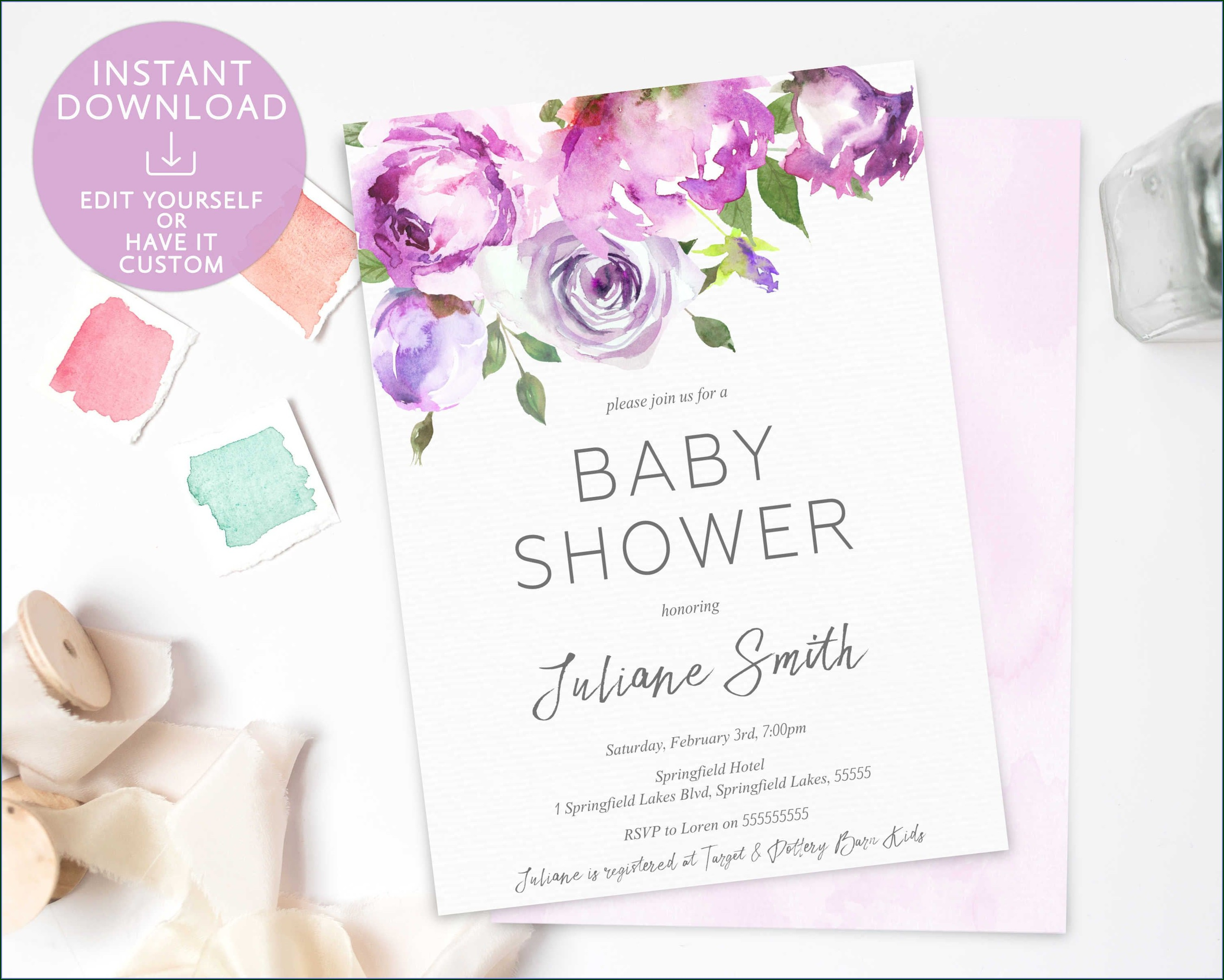 Template Baby Shower Invitation Editable