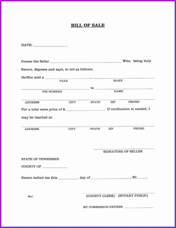 Template Blank Vehicle Bill Of Sale Alabama