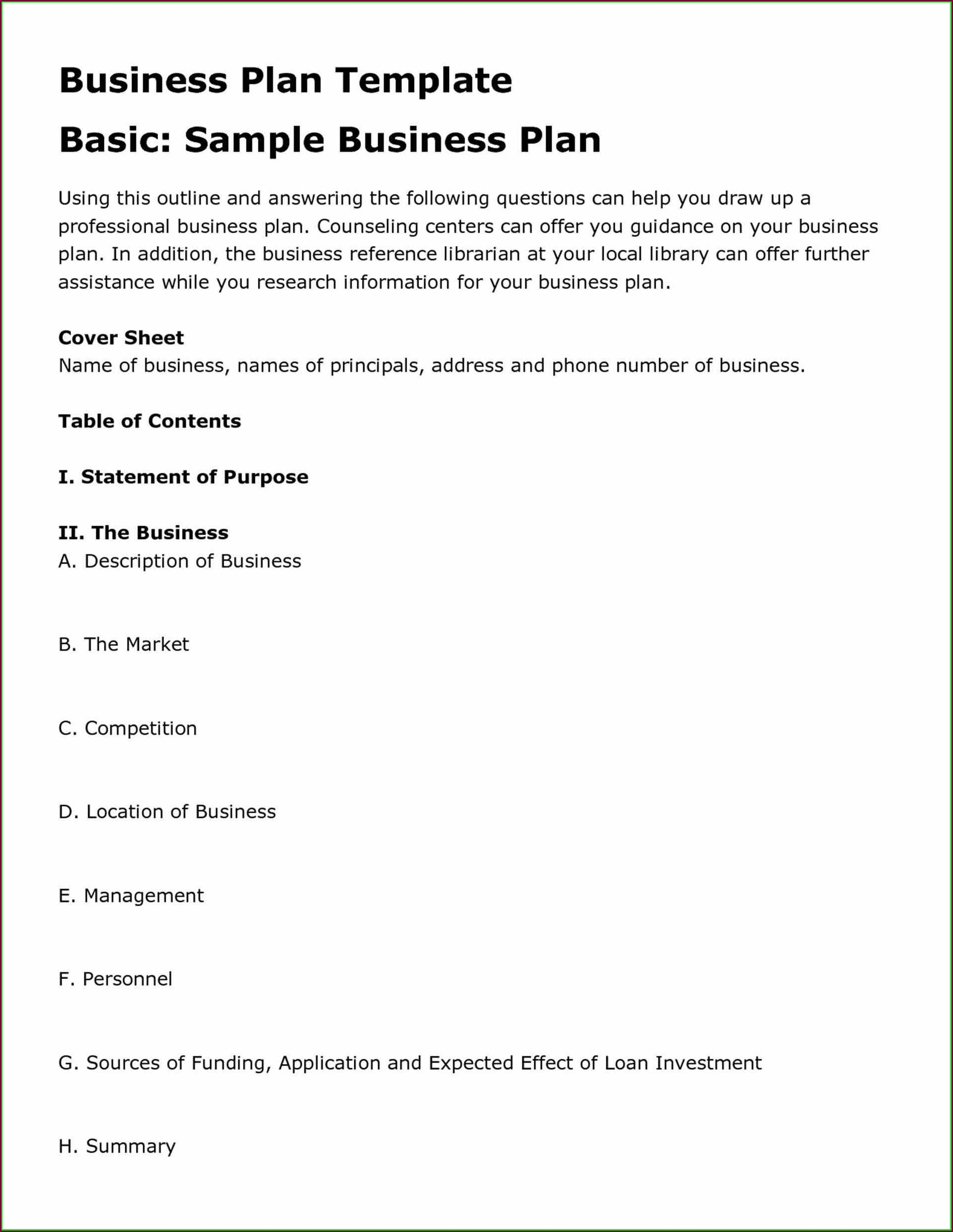 Template Business Plan Sample For Restaurant Pdf