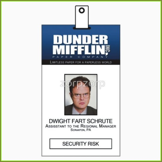 Template Dwight Schrute Id Badge Printable