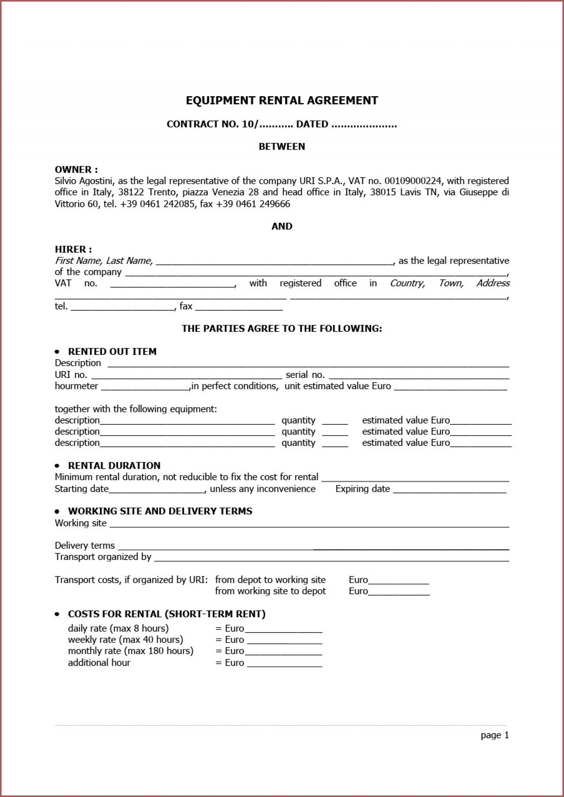 Template Equipment Rental Agreement Form