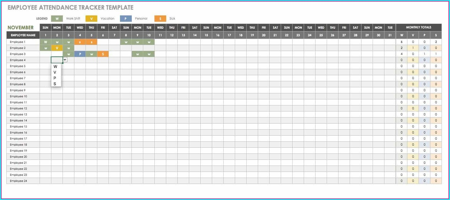 Template Excel Employee Vacation Tracker Excel