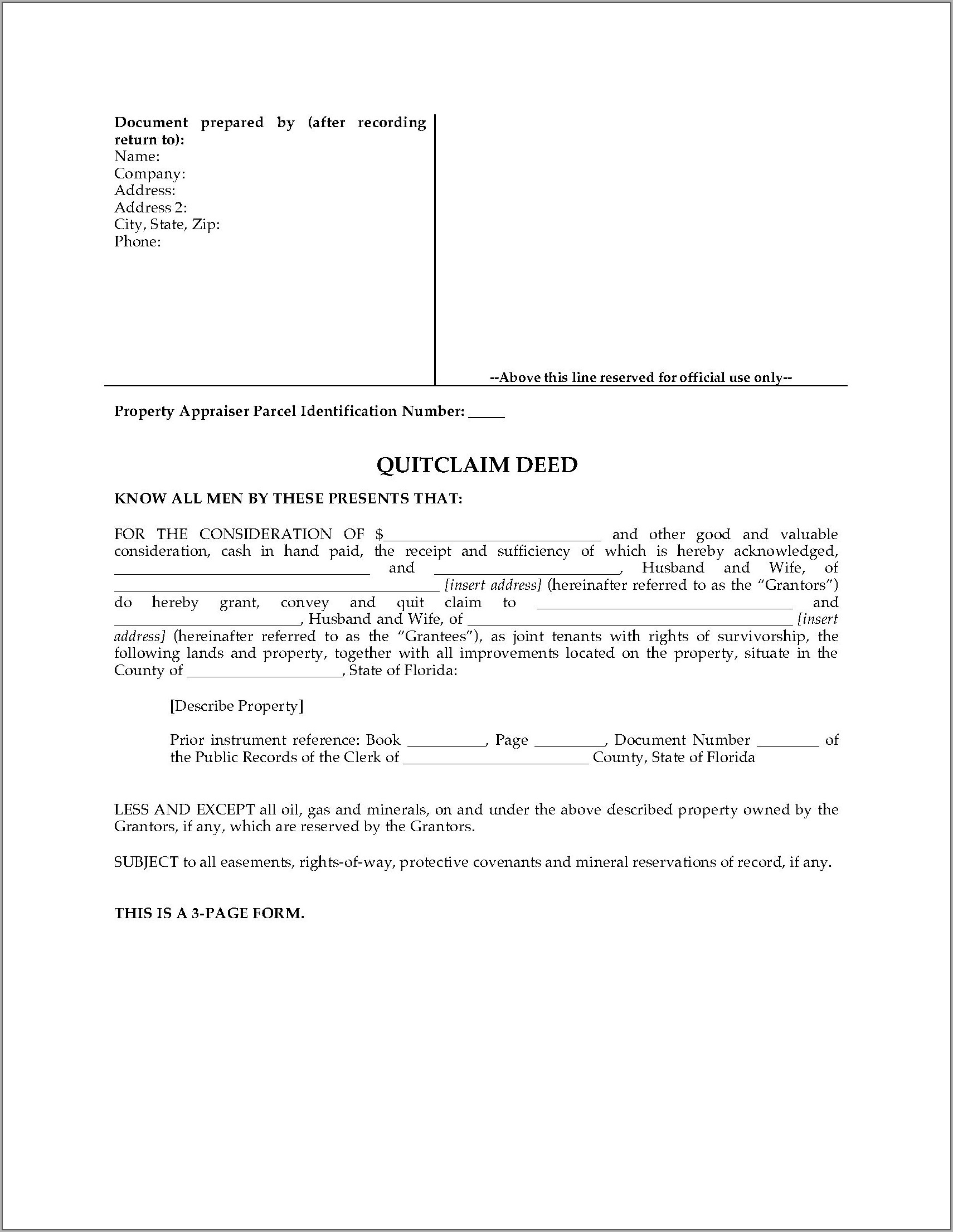 Template Florida Quit Claim Deed Form