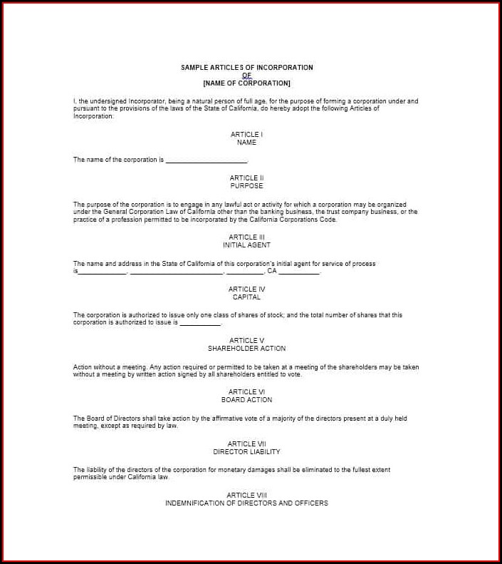 Template For Articles Of Incorporation