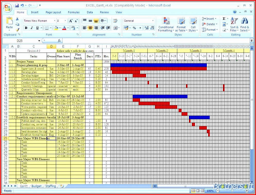 Template For Gantt Chart Word