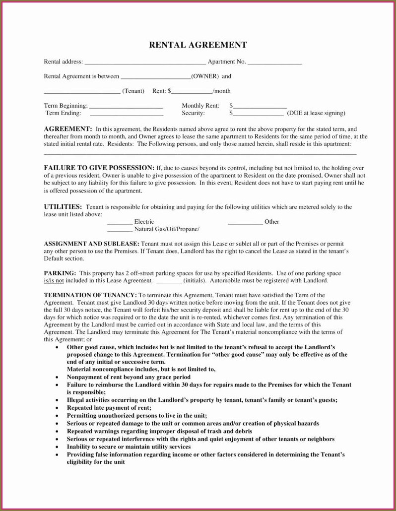 Template For Rental Lease Agreement