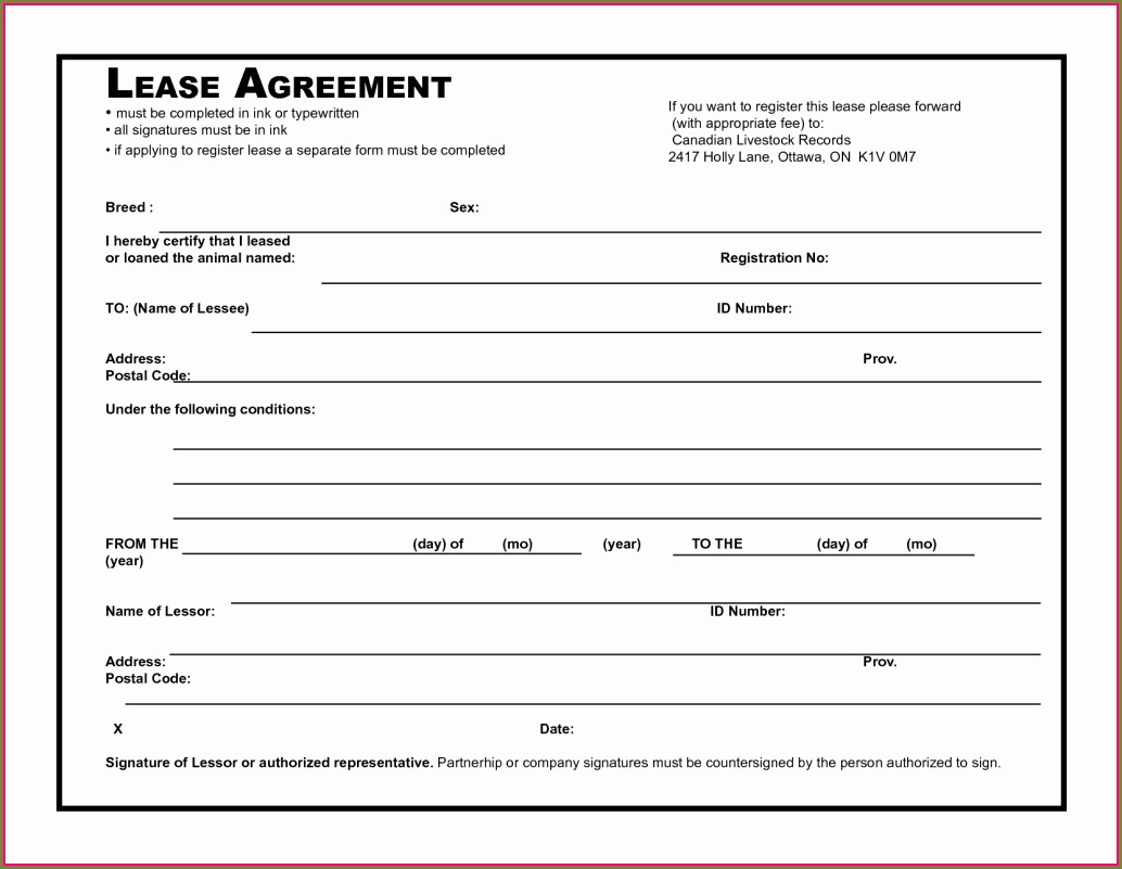 Template For Rental Lease