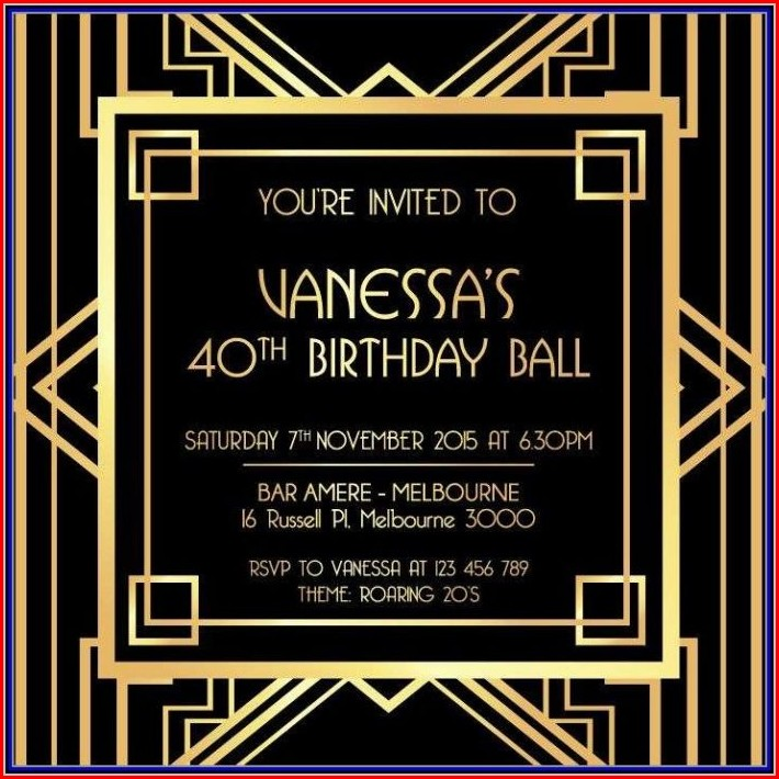 Template Free Gatsby Party Invitation Template