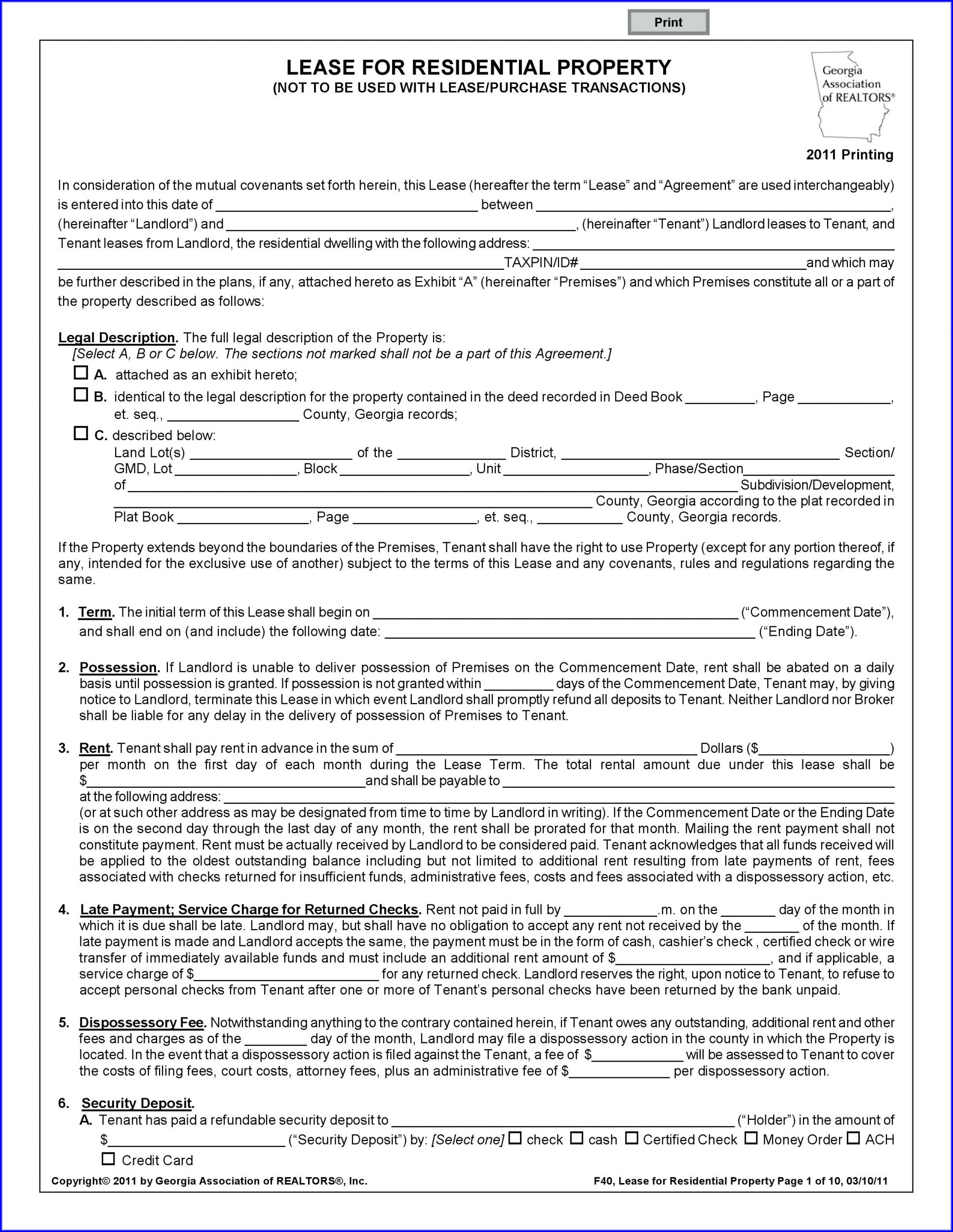 Template Free Printable Blank Lease Agreement