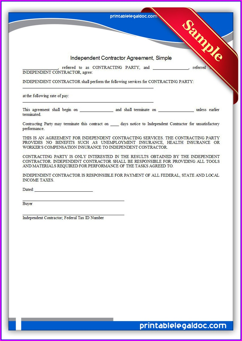 Template Free Printable Independent Contractor Agreement