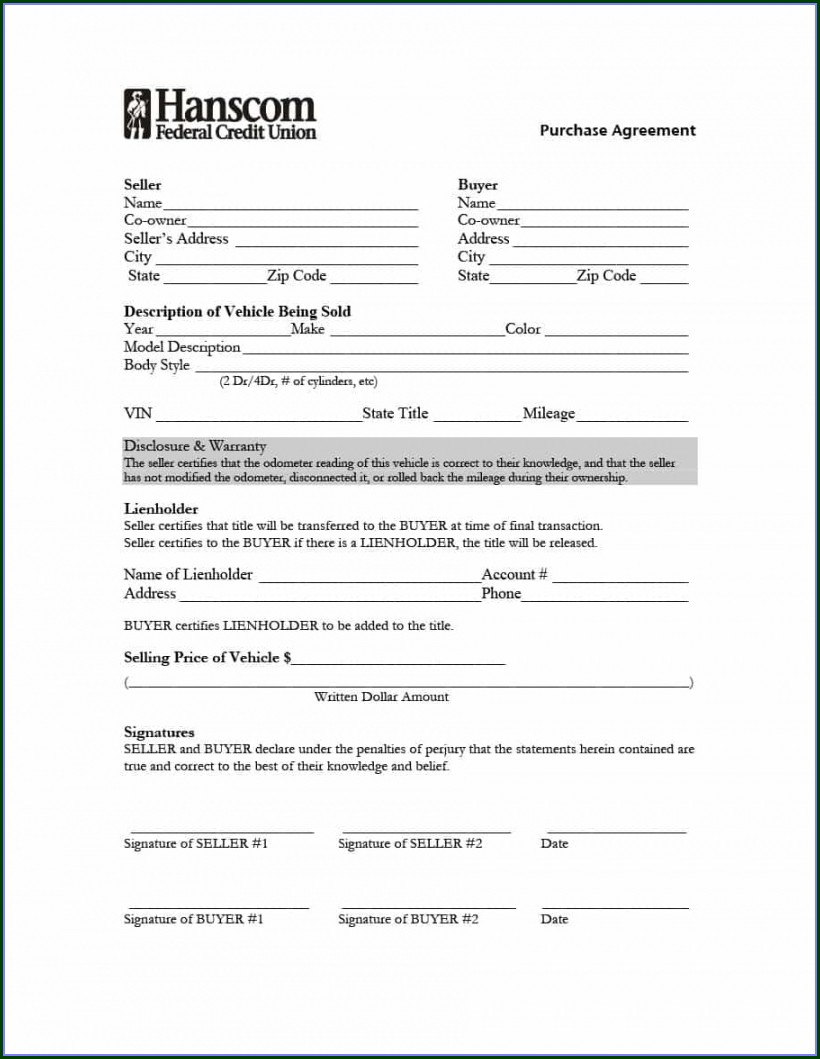 Template Free Printable Vehicle Purchase Agreement
