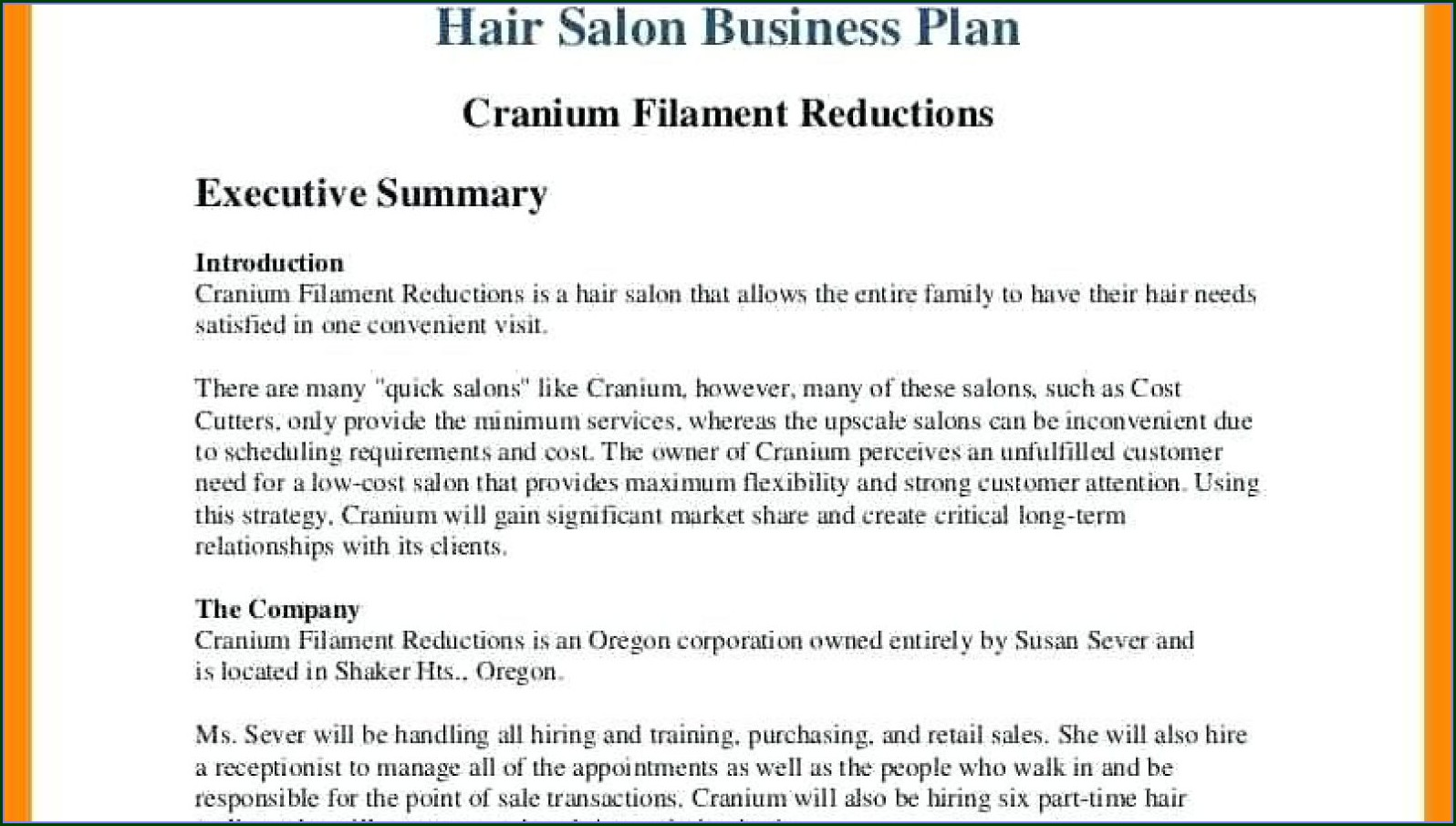 Template Hair Salon Business Plan Powerpoint