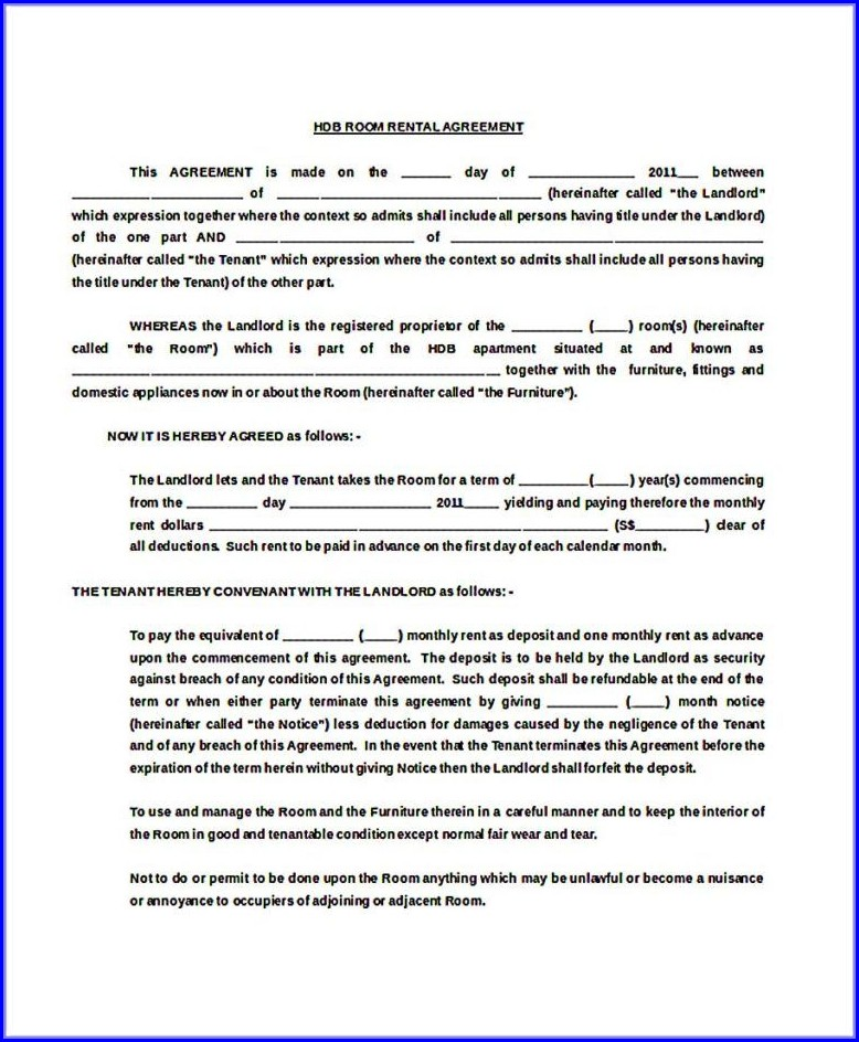 Template Hdb Room Rental Agreement Form
