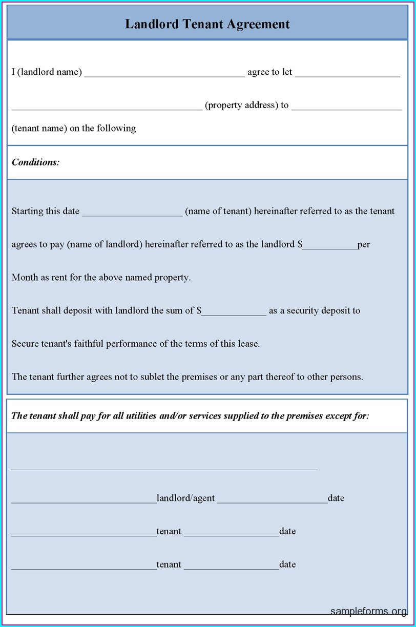 Template Landlord Tenant Agreement Form