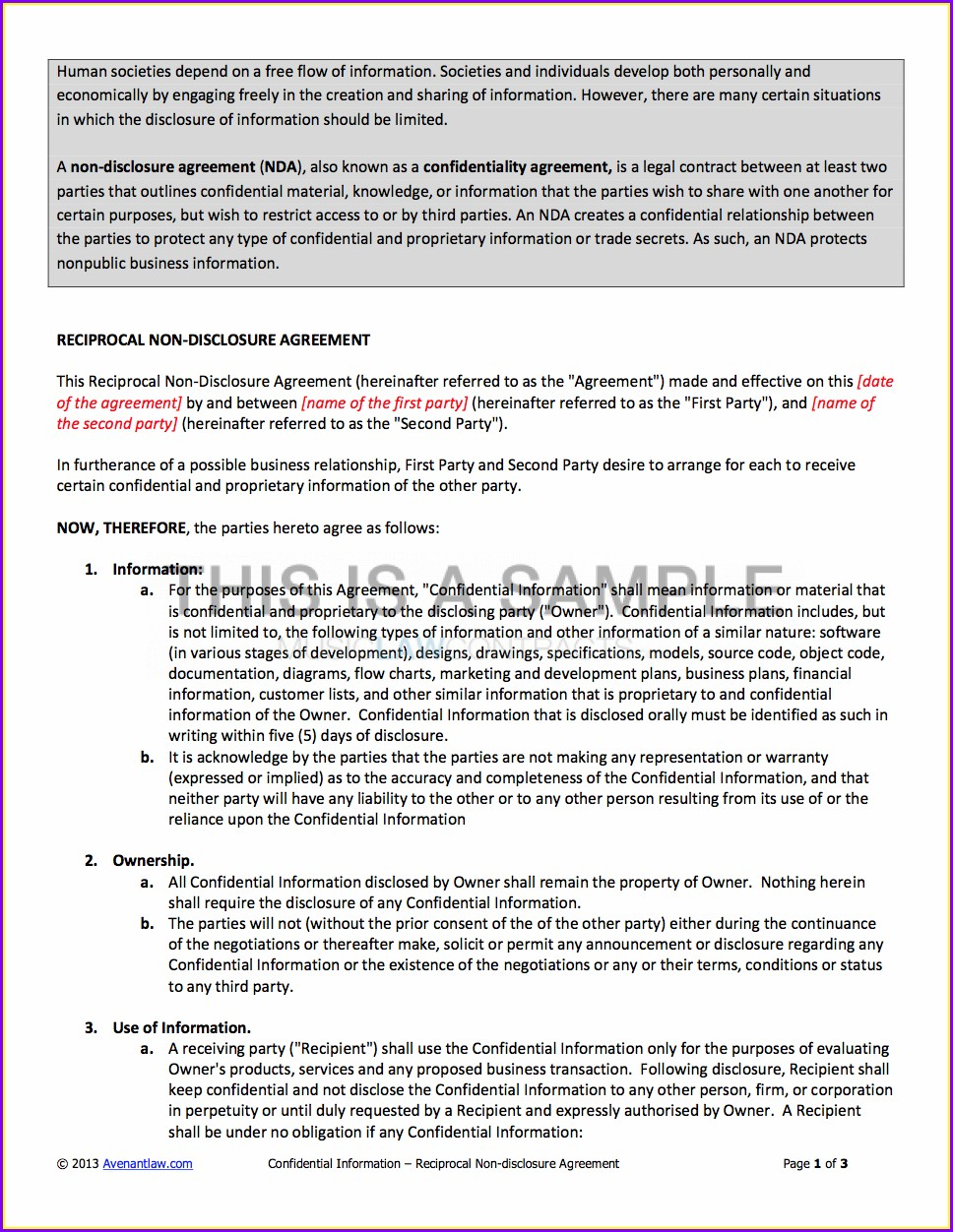 Template Non Disclosure Agreement Sample